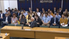 Sir David Attenborough was questioned by MPs in front of a large audience
